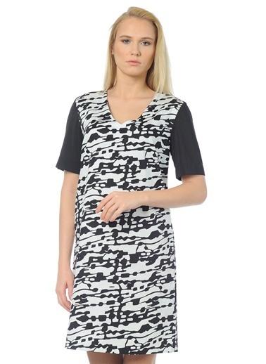 Cotton Bar Kısa Kollu Desenli Elbise Siyah